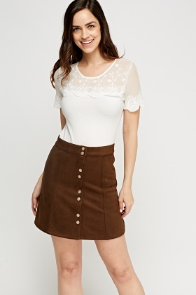 Button Up Suedette Skirt