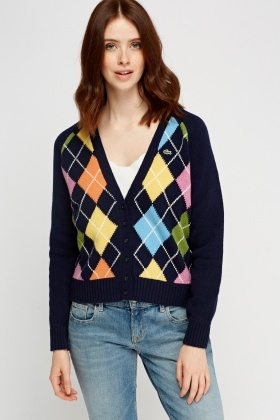 Lacoste Diamond Knitted Cardigan