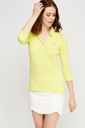 Lacoste Fitted Button Neck Top