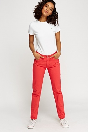 Lacoste Straight Leg Red Jeans