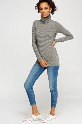 Lacoste Turtle Neck Stripe Long Sleeve Top
