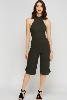 Halter Neck Ribbed Cropped Jumpsuit