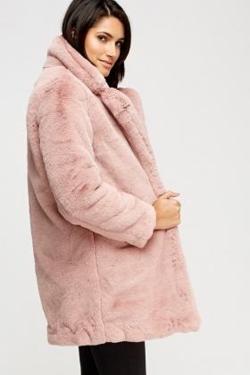 788cdcaed K.ZELL Dusty Pink Teddy Bear Faux Fur Coat