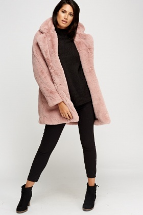 K.ZELL Dusty Pink Teddy Bear Faux Fur Coat