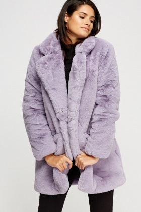 K.Zell Lilac Teddy Bear Faux Fur Coat