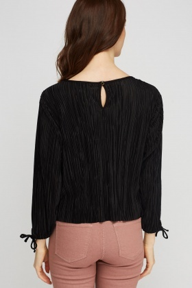 Pleated Tie Up Sleeve Top