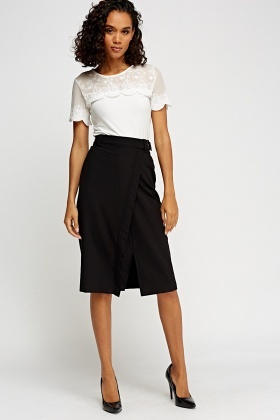 Wrapped Belted Midi Skirt