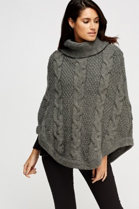 Cowl Neck Cable Knit Poncho