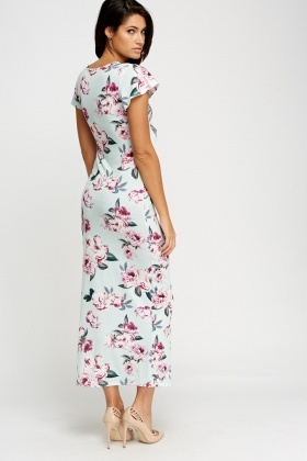 Knot Front Printed Maxi Dress
