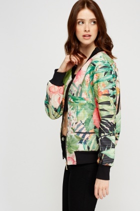 Pleated Wild Floral Bomber Jacket