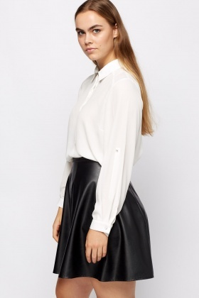 Roll Up Sleeve Sheer Blouse