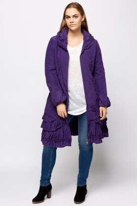 Ruched Hem Zip Up Longline Jacket