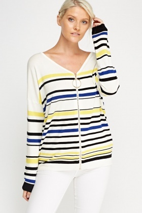 Stripped Knitted Cardigan