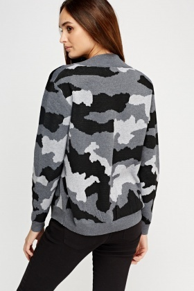 Camouflage Knitted Zipped Jumper