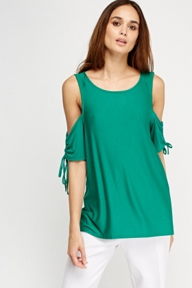 Cold Shoulder Drawstring Sleeve Top