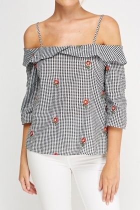 Cold Shoulder Embroidered Textured Top