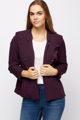 Detailed Open Front Blazer