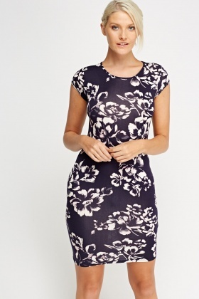 Flower Printed Bodycon Dress