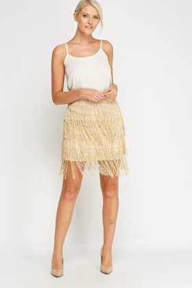 Metallic Tassel Layered Skirt