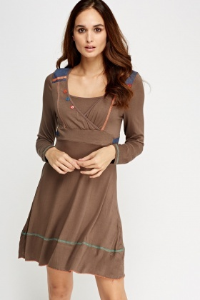 Wrapped Insert Embroidered Dress