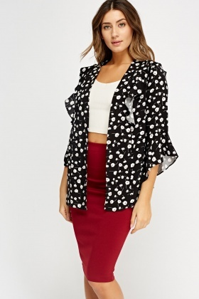 Frilled Open Front Thin Cardigan