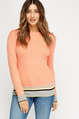 Striped Hem Ribbed Jumper