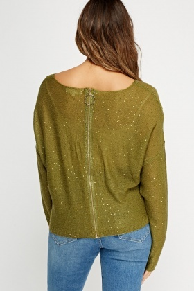 Zip Back Sequin Jumper