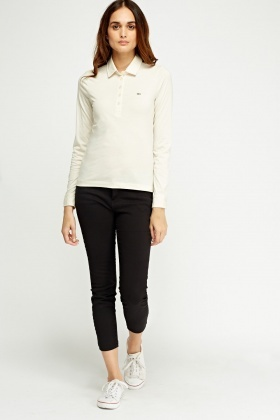 Lacoste Button Neck Long Sleeve Top