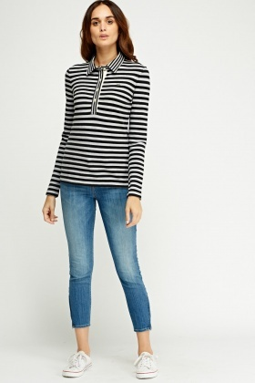 Lacoste Striped Button Neck Top