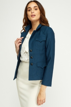 Textured Multi Pocket Blazer