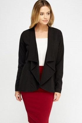 Frilled Lapel Front Blazer