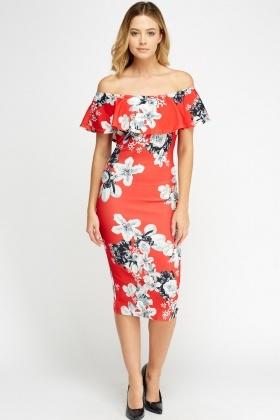8dbc9b6516 Off Shoulder Floral Midi Dress - Just £5