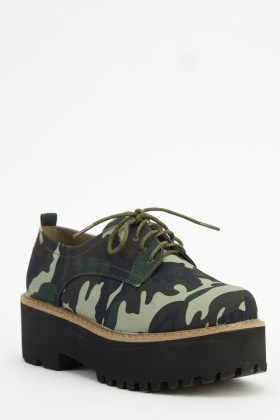 Camouflage Printed Flatform Shoes