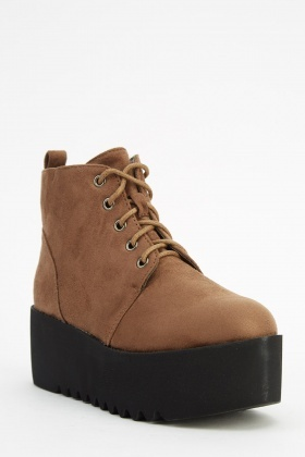 Lace Up Suedette Flatform Boots