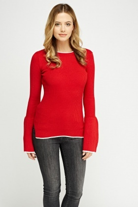 Flare Sleeve Ribbed Jumper