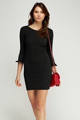 Textured Flared Sleeve Dress