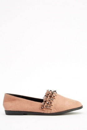 Layered Studded Suedette Shoes
