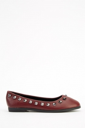 Studded Trim Faux Leather Ballerinas