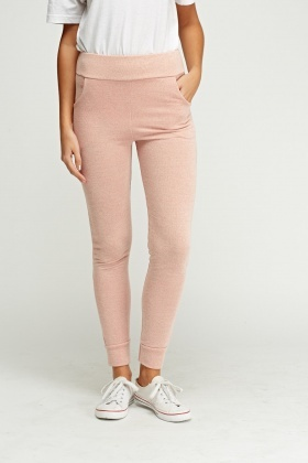 423976875 Dusty Pink Fitted Jogger Pants - Just £5