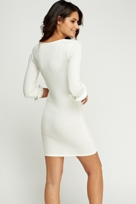 Flare Sleeve Trim Bodycon Dress
