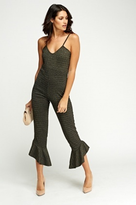 Metallic Frilled Leg Jumpsuit