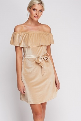 Off Shoulder Velveteen Dress