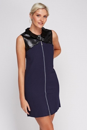 Zip Front Contrast Dress