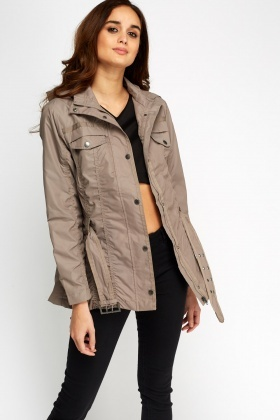 Ruched Belted Hooded Jacket