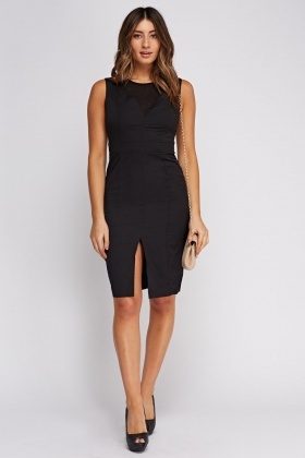 Black Contrast Insert Casual Dress