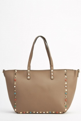 Gessy Studded Faux Leather Tote Bag
