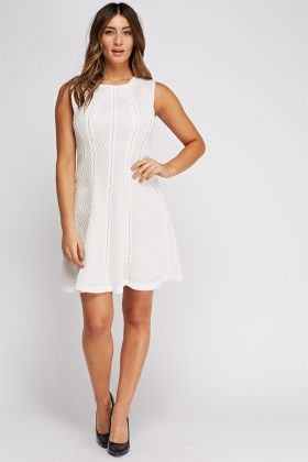 Lace Back Insert Mesh Skater Dress