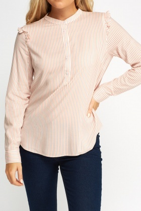 Ruffled Shoulder Striped Top