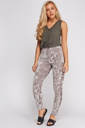 Crinkled Velveteen Trousers