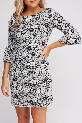 Embossed Flower Printed Dress